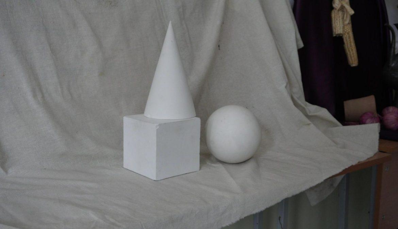 Образцы натюрморта из гипсовых фигур для вступительных испытаний